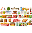 set food on white background vector image