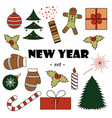 set of color new years elements white background vector image vector image
