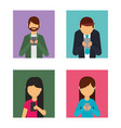 set of people using mobile phone avatars vector image vector image