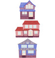 set of wooden houses of the american suburbs vector image