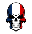 Skull in France flag colors vector image vector image