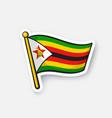 sticker flag zimbabwe vector image