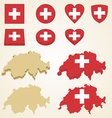 Switzerland map flag 3D pack vector image vector image