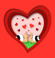 template of greeting card with snails in love on vector image