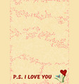 text ps i love you on textured yellow background vector image