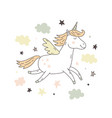 unicorn cute poster vector image vector image