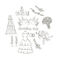 Doodle wedding set for invitation cards vector image