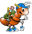 cartoon of a happy working ant vector image