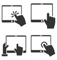 mobile tab and hand pointer flat icon set vector image