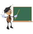 Ant teacher stands at blackboard vector image