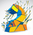 3d low poly colorful number one with black vector image vector image