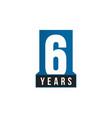 6 years anniversary icon birthday logo vector image vector image