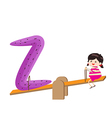 a Kid Leaning on a Letter Z vector image vector image