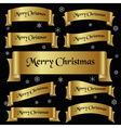 all gold merry christmas slogan curved ribbon vector image vector image