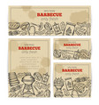 bbq party template with meat chicken fish vector image vector image