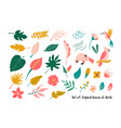 big set of bright tropical leaves and birds vector image vector image