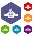 Black friday ribbon icons set vector image vector image