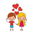 boy and girl love hearts cartoon vector image vector image