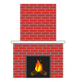 brick fireplace with fire vector image vector image