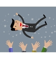 businessman get thrown into the air vector image