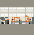 cartoon color smart factory inside interior vector image vector image