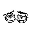 cartoon image of tired eyes vector image