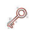 cartoon key icon in comic style unlock sign vector image vector image