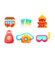collection cute bright glossy summer symbols vector image vector image