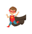 comic cute brave kid in superhero costume running vector image vector image