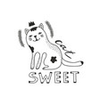 cute cat isolated with text on white background vector image vector image