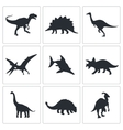 Dinosaurs icons collection vector image
