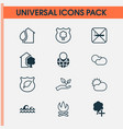 ecology icons set with eco house protect forest vector image vector image