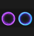 electric circles with lightning discharge and glow vector image vector image