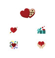 flat icon heart set of emotion save love heart vector image vector image