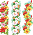 Garlands of hibiscus flowers vector image vector image