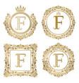 golden letter f vintage monograms set heraldic vector image vector image