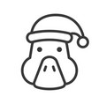 goose wearing santa hat outline icon editable vector image vector image