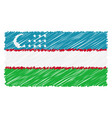 hand drawn national flag of uzbekistan isolated on vector image vector image