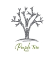 Hand drawn tree formed with human bodies vector image vector image