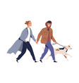 homosexual male couple holding hands walking vector image vector image