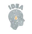 idea concept maze in the shape of a vector image