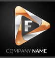 Letter f logo symbol in the colorful triangle on