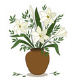 lilies flowers in a vase vector image vector image