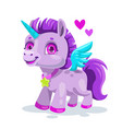 little cute cartoon pegasus vector image vector image
