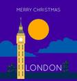 london big ben merry christmas poster vector image vector image