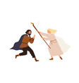 medieval battle or duel between good and evil man vector image vector image