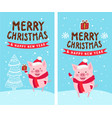 merry christmas happy new year 2019 funny card vector image