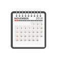 november 2018 calendar calendar notebook page vector image vector image