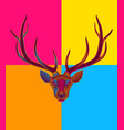 pop art engraving stylized deer on black vector image vector image