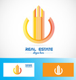 Real estate orange building abstract symbol logo vector image vector image